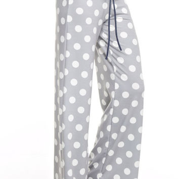 Casual Polka Dot Pants - Light Gray