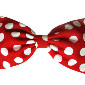 "Large Red Polka Dot ""Minnie Mouse"" Inspired Hair Bow- Rockabilly, Pin Up, Retro"