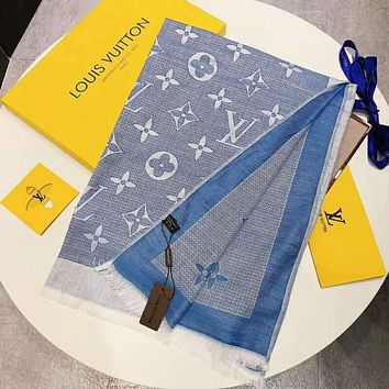 """LV """"Louis Vuitton"""" New Popular Monogram Smooth Silk Cashmere Scarf Scarves Sunscreen Cape Accessories Blue I-TMWJ-XDH"""