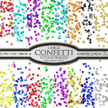 16 Digital Confetti Clip Art Borders: New Year's Confetti Border Clipart - Large Colorful New Year's Party Confetti Clipart Borders Instant