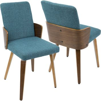 Carmella Mid-Century Modern Dining Chairs, Walnut & Teal Fabric (Set of 2)