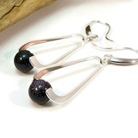 Blue Goldstone Gemstone Earrings, Silver Plate Earrings, Silver Women's Earrings, Gift for Her, Blue and Silver Earrings