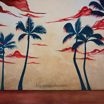 Palm Tree painting, 9 inches x 11 inches, Original, Persian art, abstract, Beach Painting, persian, palm tree art, sunset, made in canada