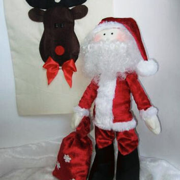 Tilda Santa,Santa Doll,gift bag,Santa Clause, Christmas doll, textile doll with bag,tilda style,tilda doll