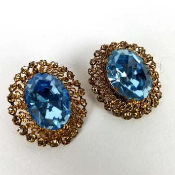 Vintage 1960s style clip on earrings light blue gemstone gold costume jewelry