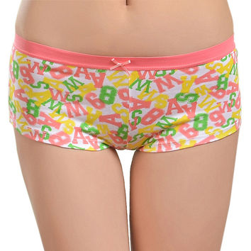 New Arrival Letter Print Cotton Womens Boyshorts Panties