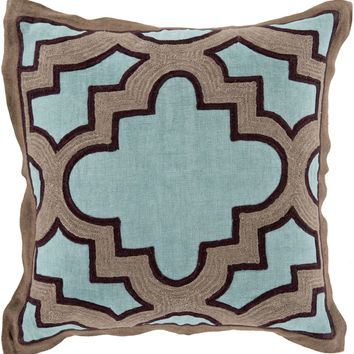 Maze Throw Pillow Blue, Brown