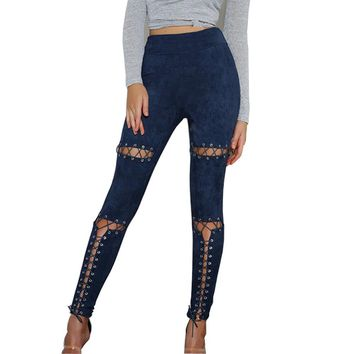 Gothic Punk Style Lace Up Skinny Pants - Different Colors Available