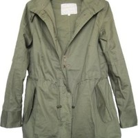 Vedem Women's Hooded Drawstring Military Jacket Parka Coat Army Green