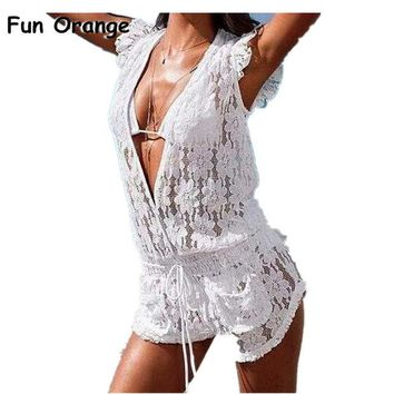 LMFYN6 Fun Orange New Women's Summer Lace Jumpsuit Shorts Plus Size Sexy club Women Overalls Fashion Lace Playsuits