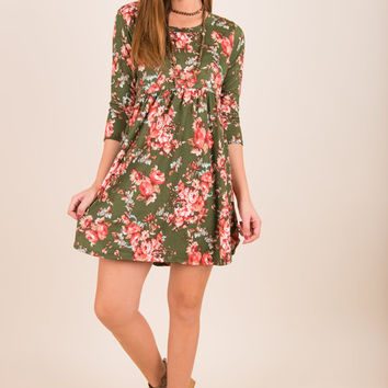 Flirtatious In Floral Dress, Olive