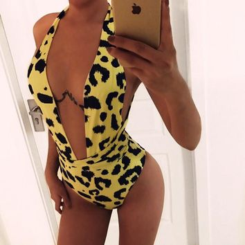Sexy Yellow Leopard Bikini One-Piece Swimsuit Swimsuit