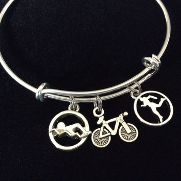 Triathlon Swim Bike Run Expandable Charm Bracelet Adjustable Bangle Athletic Sports Accomplishment Gift