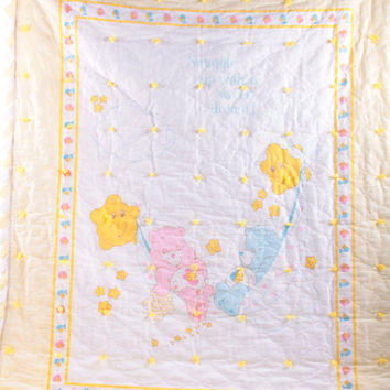Care Bears, Baby Blanket, Gender Neutral, Vintage, Quilt, Baby Bedding, Nursery, Baby Hugs and Tugs ~ The Pink Room ~ 161126
