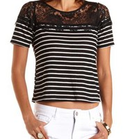 Lace Yoke Striped Top by Charlotte Russe