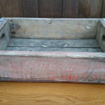 Vintage Red Coke Coca Cola Crate With Metal Strapping Great Advertising Graphics Storage Organization Decor Shelf