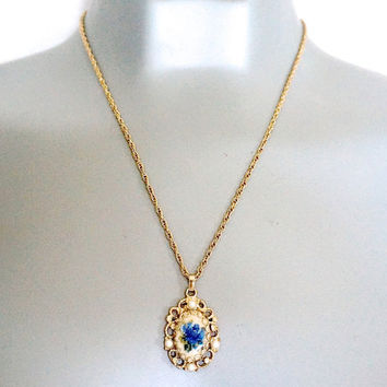 Petit Pointe Necklace,Blue Rose Necklace,Avon Gold Tone Chain and Needlepoint Pendant,Faux Pearl & Embroidered Flower Necklace,Avon Jewelry