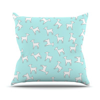 "Monika Strigel ""Baby Llama Multi"" Blue White Outdoor Throw Pillow"