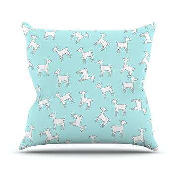 "Monika Strigel ""Baby Llama Multi"" Blue White Throw Pillow"