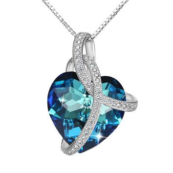 "925 Sterling Silver CZ ""Courageous Heart"" Inspired Pendant Necklace Made with Swarovski Crystals"