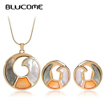Round Shell Luxury Brand Gold-color Earrings Necklace Set