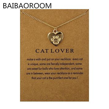 "Gold or Silver Tone ""Cat Lover""Friendship Heart Charm Pendant Necklace"