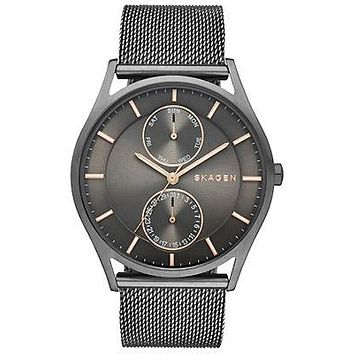 Skagen Mens Holst Day/Date Watch - Gun Metal & Rose Tone - Mesh Strap
