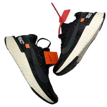 OFF White X Nike Epic React Flyknit Off White Black White shoe
