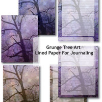Grunge Tree Art Printable Lined Paper Download For Art Journaling Or Planner