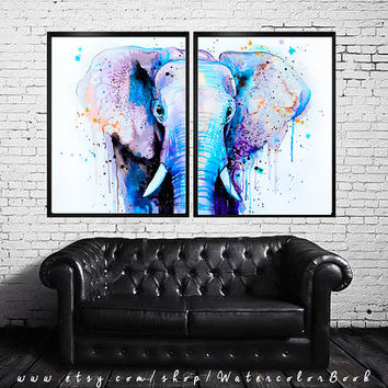Blue Elephant Head watercolor painting print ,Elephant art, animal illustration,Elephant illustration,print art,animal watercolor,animal art