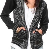 Empyre Brooke Leopard Print Varsity Tech Fleece Jacket