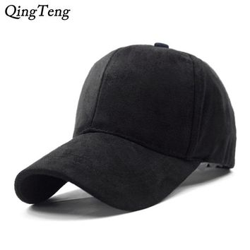 Trendy Winter Jacket Solid Suede Baseball Cap Black Brand Polo Caps Mens Snapback Hats Fashion Adjustable Suede Bone Women Outdoor Sports Golf Hat AT_92_12
