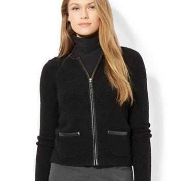 Lauren Ralph Lauren Faux Leather Trimmed Cardigan