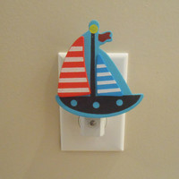 Sailboat Night Light - Sailboat Decor - Beach House Decor - Beach Decor - Boat Decor - Night Light - Nautical Decor