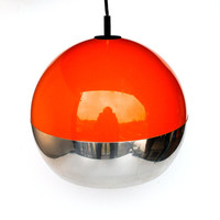 Atomic 70's Ceiling Lamp - Orange Space Age Design with Chrome Base