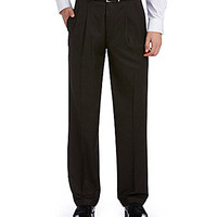 Roundtree & Yorke Pleated Mini-Check Expander Pants - Brown