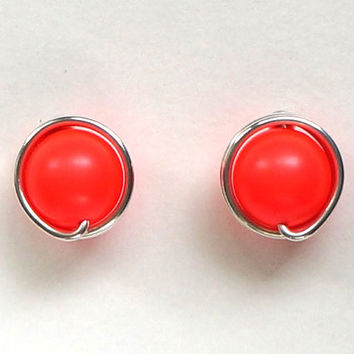 Neon Red Pearl Stud Earrings, Red Silver Post Earrings, Red Stud Earings, Wire Wrapped Jewelry Handmade, Neon Jewelry