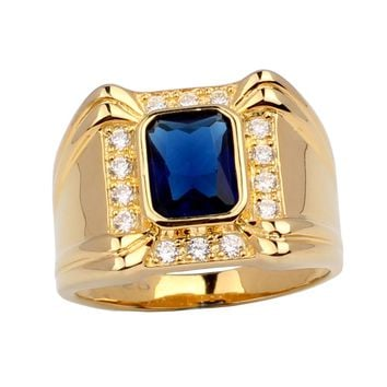 Gold Color Solid Sterling 925 Silver Ring Mens 4-claw Oblong Cubic Zirconia MAN GFS R128 Size 10 11 12  13