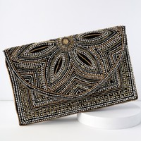 Marieta Black Beaded Clutch