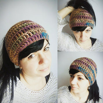 Ponytail Hat - Messy Bun Hat - Ponytail Bun Beanie - Hat Women - Open Top Hat - Pastel Crochet Hat - Brown Purple Green Hat