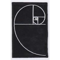 Fibonaci Golden Spiral Embroidered Patch 4 X 2 Inch