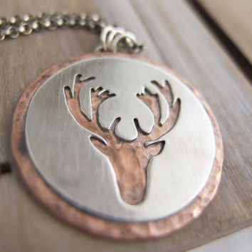 OH DEER!, Reindeer Jewelry, Hunting Jewelry, Hunter, Stag Head, Deer Head, Buck,  Deer Silhouette, Pendant, Necklace for Women or Men , Gift