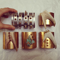 Bone & Spike Brass Arm Cuffs