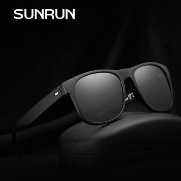 SUNRUN New Brand Squared Polarized Sunglasses Wrap Around TR90 Frame Classic Luxury Eyewear For Men Oculos Gafas De Sol LZ1418