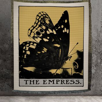 Large Woven Tapestry - The Empress Butterfly Tarot Card Tapestry - Rider Waite Deck - Cotton