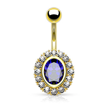 Gold Belly Button Ring Sapphire Blue Crystal
