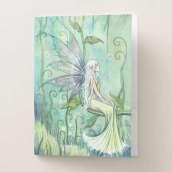 Meditation Green Garden Fairy Folder with Pockets