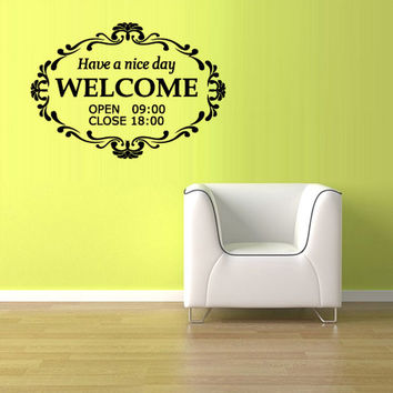 rvz1084 Wall Vinyl Sticker Bedroom Decal Words Sign Quote Welcome Banner Plate