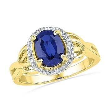 10kt Yellow Gold Women's Oval Lab-Created Blue Sapphire Solitaire Diamond Ring .02 Cttw - FREE Shipping (US/CAN)