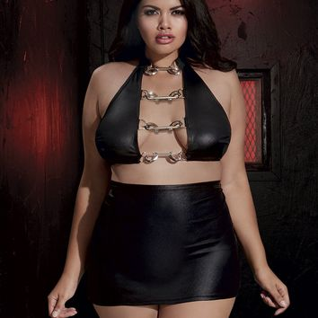 Plus Size Faux Leather High Waist Skirt Set